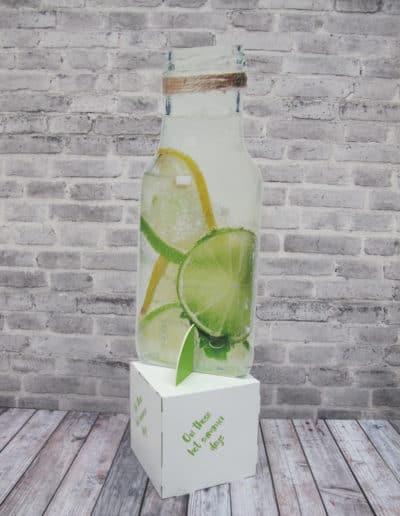 Konturskåret flaske med sitron og lime vann printet på stiv lettvektsplate. Montert opp på toppen av kube i bølgepapp. Kuben har også påprintet motiv.